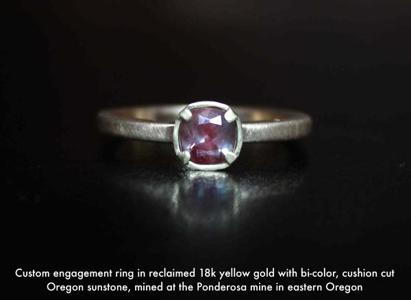 Yellow gold solitaire engagement ring with cushion cut Oregon sunstone
