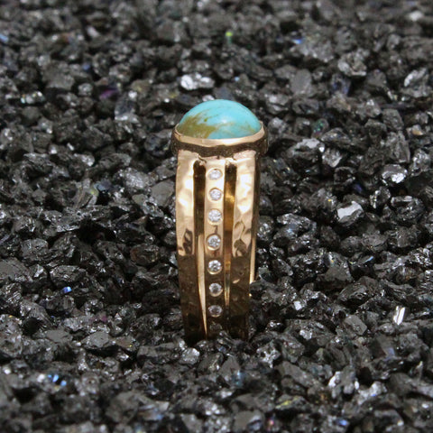 Rose gold triple band ring with diamonds and turquoise.