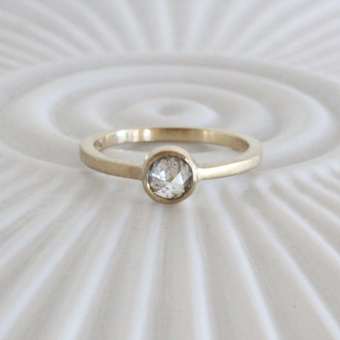 Gold engagement ring with natural rose cut diamond