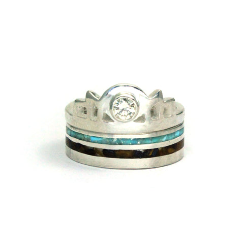 Silver Art Deco style engagement ring with diamond and silver wedding band with stripes of turquoise and brown stone inlay