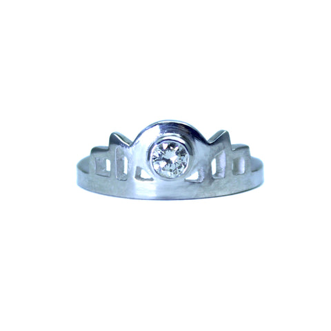 Silver Art Deco style engagement ring with diamond