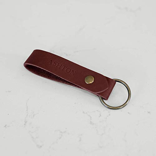 Personalized Leather Keychain — Custom Initials/Name — Gift for Men & Women