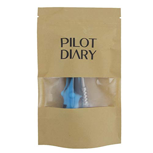 "PILOTDIARY Portable Honey Stick Straw with Cap 6.5"", Blue/Dark"