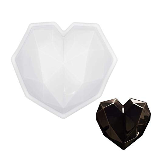 MOTZU Diamond Heart Love Shape Silicone Cake Mold, Silicone Oven Safe Chocolate