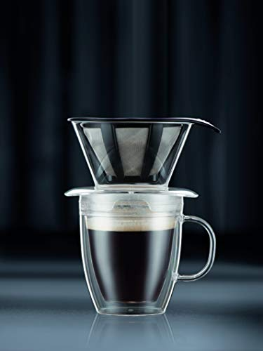 Bodum Pour Over Coffee Dripper Set With Double Wall Mug and Permanent Filter