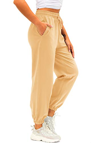Women's Cotton Sweatpants High Waisted Pants with Pockets Athletic Fit Joggers