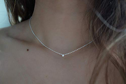 Dainty Silver Diamond Choker Necklace - Diamond Choker Necklace - 925 Sterling Silver