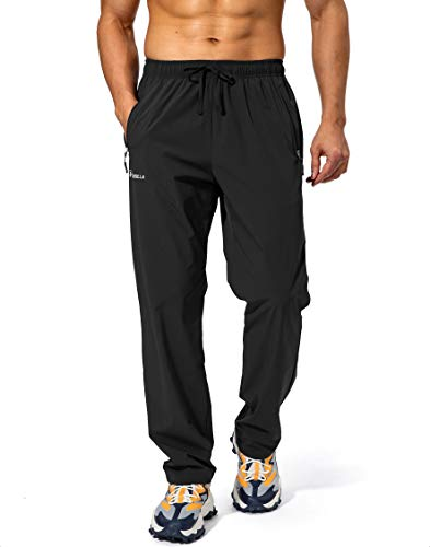 Pudolla Men's Workout Athletic Pants Elastic Waist Jogging Running Pants