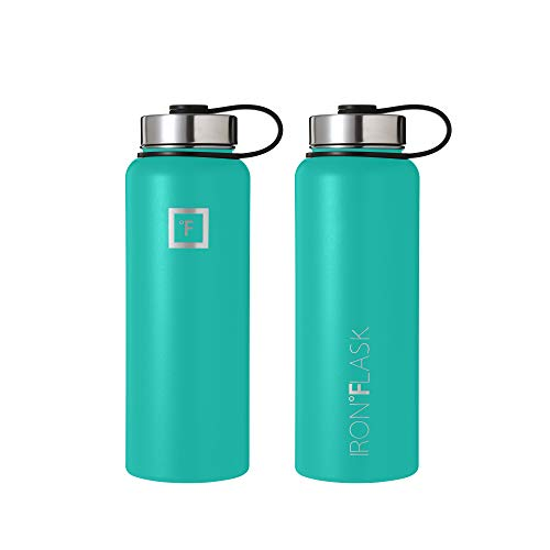 Iron Flask Sports Water Bottle - 14 Oz, 3 Lids (Straw Lid), Vacuum Insulated Stainless