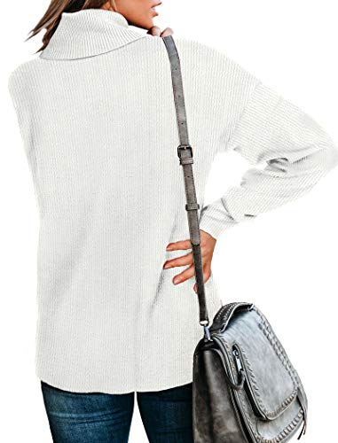 NSQTBA White Sweaters for Women Cowl Neck Sweater Winter Long Sleeve Tops S