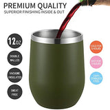 MUCHENGHY 12 oz Stemless Wine Glass Tumbler with Lid Stainless Steel Double Wall