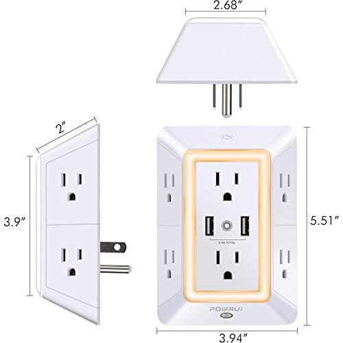 USB Wall Charger, Surge Protector, POWRUI 6-Outlet Extender with 2 USB Charging Ports (2.4A Total)