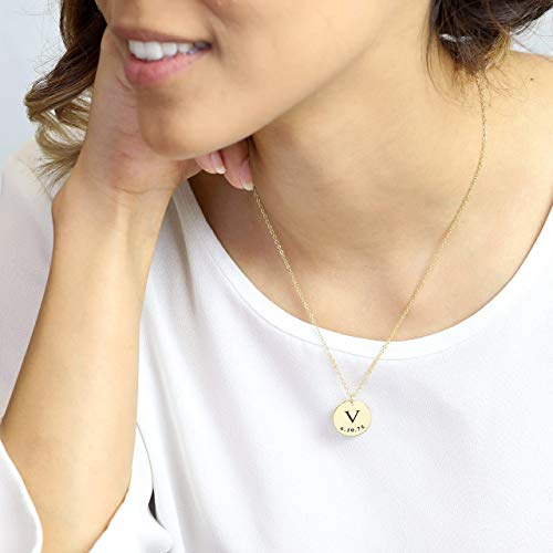 Delicate Initial Disc Necklace Coin Graduation Gift Amazon Handmade Gift for Her