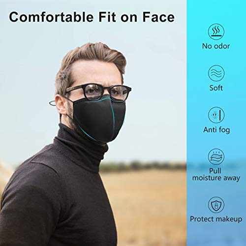 Extra Large Face Protector for Wide Face, 3-Ply Black Cloth Shields