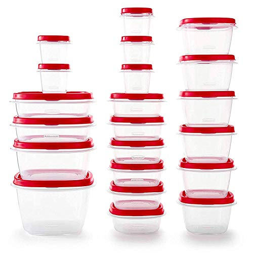 Easy Find Vented Lids Food Storage Containers, Set of 21 (42 Pieces Total), Racer Red