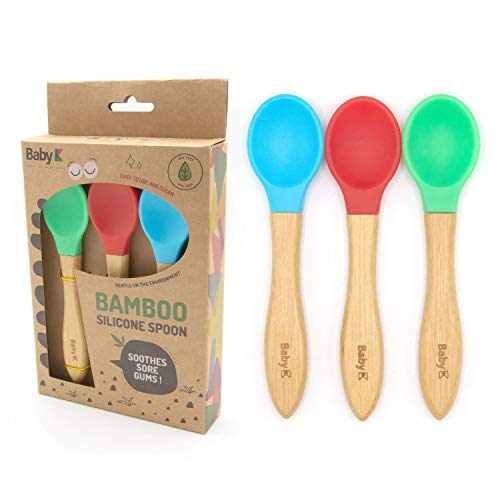 BABY K Self Feeding Bamboo Baby Spoons (3 Pieces) - Baby Led Weaning Spoon