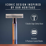 King C. Gillette Double Edge Safety Razor Blades 10 count, Stainless Steel Platinum
