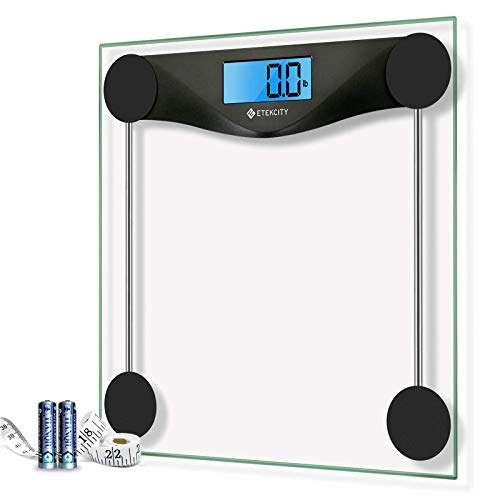 Etekcity Digital Body Weight Bathroom Scale with Body Tape Measure, Large Blue LCD