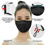 Black Face Mask With Free PM2.5 Filter (Washable Durable & Reusable)