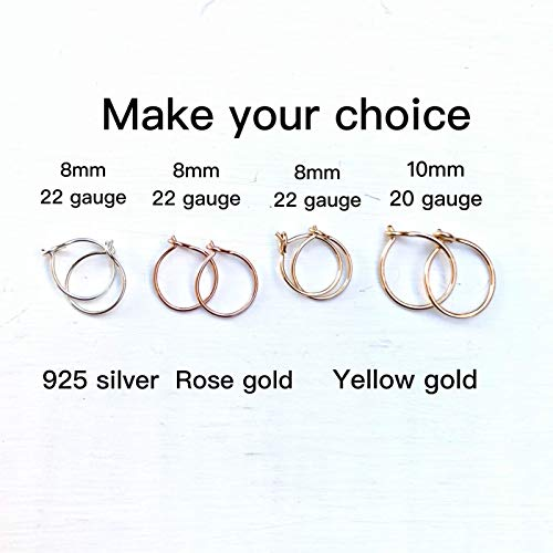 Small 8mm Gold Hoop Earrings for Cartilage Women, 14K Yellow Gold Filled Handmade