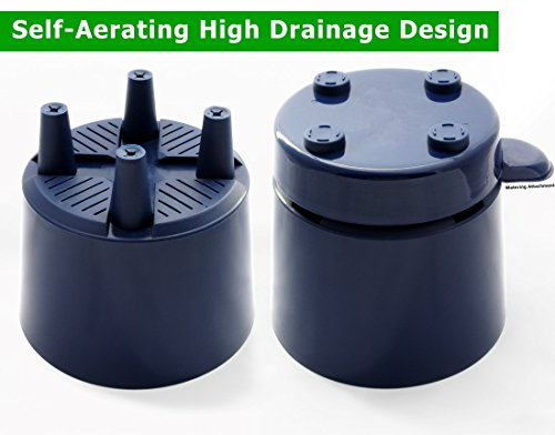 "6"" Self Watering + Self Aerating High Drainage Deep Reservoir Round Planter Pot"