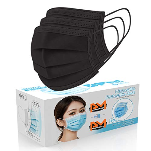 50 Pcs Disposable Face Cover 3-Ply Filter Non Medical Breathable Earloop Masks (Black)