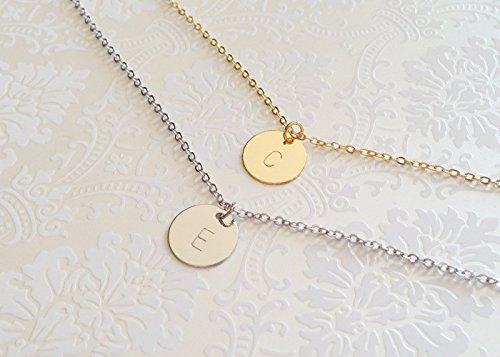 Delicate Initial Disc Necklace Rose Gold Initial Necklace Best Friend Personalized