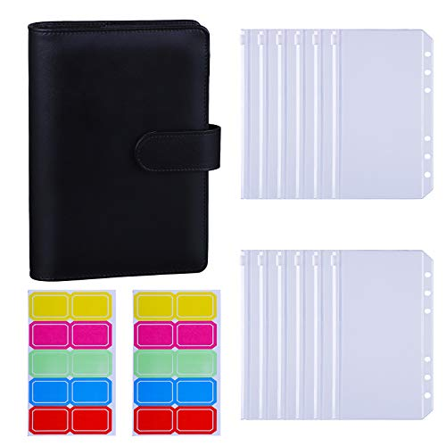 Antner A6 PU Leather Binder Cover with 12PCS A6 Binder Pockets Loose Leaf Bags