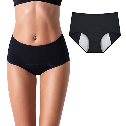 Womens Leak-Proof Menstrual Period Postpartum Stretchy Cotton Full Briefs