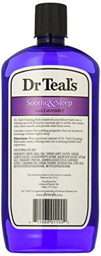 Dr Teal's Foaming Bath with Pure Epsom Salt, Soothe & Sleep with Lavender, 34 Ounces, purple,