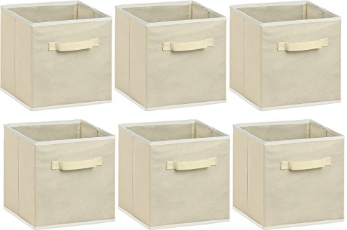 6 Pack - SimpleHouseware Foldable Cloth Storage Cube Basket Bins Organizer, Beige