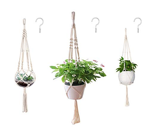 AOMGD 3 Pack Macrame Plant Hanger and 3 PCS Hooks Indoor Outdoor Hanging Plant