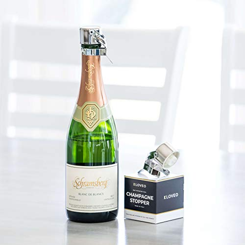 Champagne Stoppers by Kloveo - Patented Seal (No Pressure Pump Needed) Made in Italy