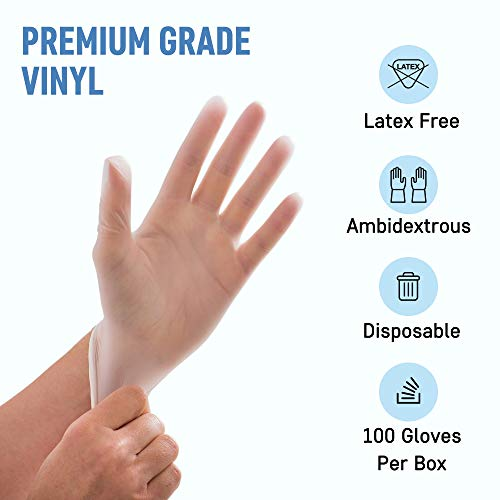 Powder Free Disposable Gloves Small - 100 Pack - 4 Mil Clear Vinyl Gloves- Extra Strong