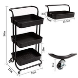 danpinera 3 Tier Rolling Utility Cart, Coffee Bar Cart with Wheels and Handle Storage