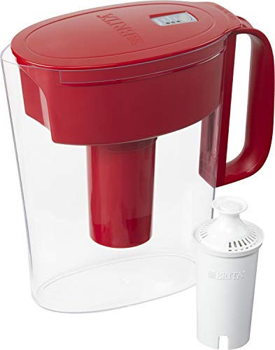 Brita Water Pitcher with 1 Filter, 5 Cup, Red & Standard Replacement Filters for Pitchers