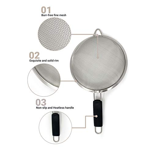 "Makerstep Set of 3 Stainless Steel Fine Mesh Strainers. Graduated Sizes 3.38"", 5.5"", 7.87"" Strainer"