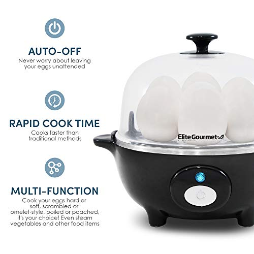 Elite Cuisine EGC-007B Easy Electric Egg Poacher, Omelet & Soft, Medium, Hard-Boiled Egg