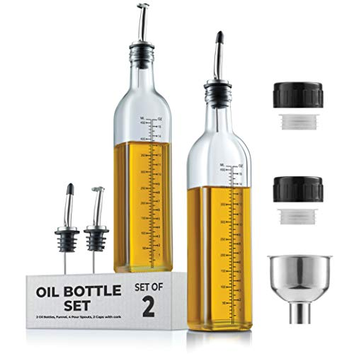 Oil Dispenser - Oil Dispenser Bottle For Kitchen - Glass Oil Bottle Set - Oil and Vinegar