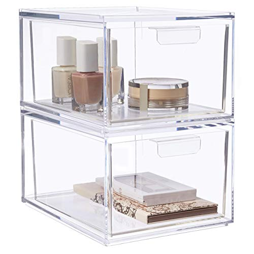 "STORi Audrey Stackable Cosmetic Organizer Drawers 4-1/2"" Tall 