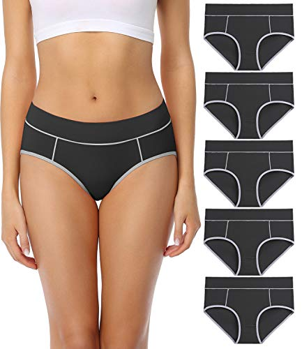 wirarpa Women's Cotton Underwear Comfy Mid Waisted Plus Size Briefs 5 Pack