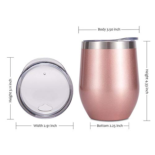 SUNWILL Insulated Wine Tumbler with Lid Rose Gold, Double Wall Stainless Steel