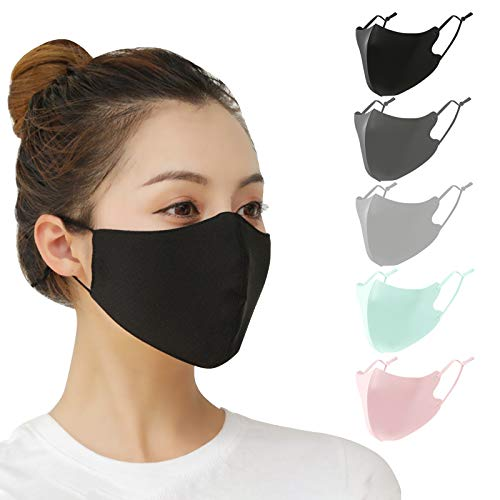 5 PCS Protective Face Covers Unisex Adult with Adjustable Elastic Ear Loop Cover Full