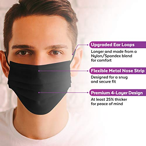 Adult Face Masks (50 Pack) - Premium 4-Ply Adult Masks, Black Face Mask Designed