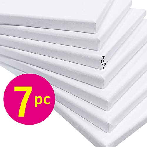 PHOENIX White Blank Cotton Stretched Canvas Artist Painting - 5x7 Inch / 7 Pack