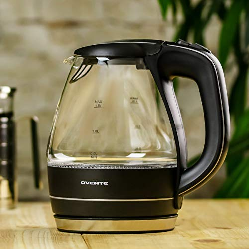 Ovente Portable Electric Glass Kettle 1.5 Liter with Blue LED Light and Stainless Steel Base