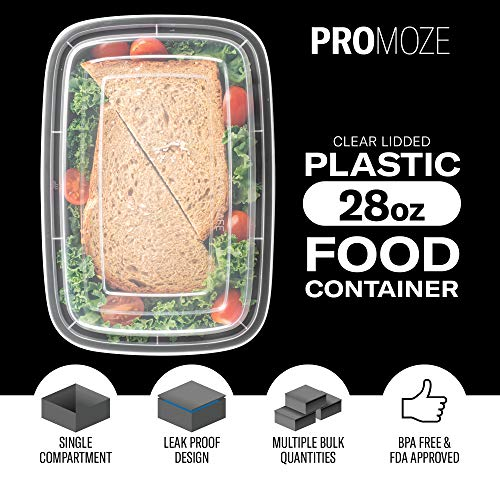 50-Pack Meal Prep Plastic Microwavable Food Containers For Meal Prepping With Lids