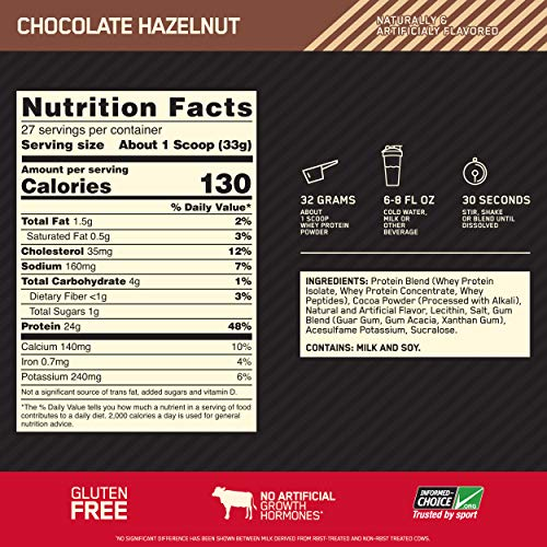 Optimum Nutrition Gold Standard 100% Whey Protein Powder, Chocolate Hazelnut