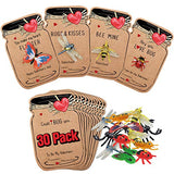 Valentines Day Cards for Kids - 30 Pack Love Bug Card Bulk w 6 Different Bugs Toy