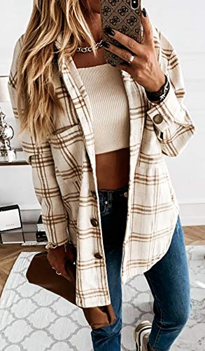 Women's Casual Color Block Plaid Wool Blend Shirt Jacket Coat Long Sleeve Button